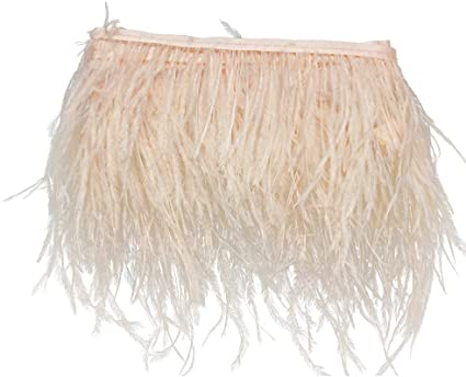 Beige for Dress Sewing Crafts Costumes Decoration Pack of 2 Yards Ostrich Feathers Trims Fringe with Satin Ribbon Tape