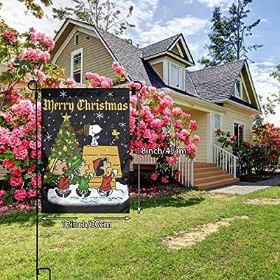 Criss Snoopy Merry Christmas Bandera de jardín decoración Patio al Aire Libre Porche Patio Granja césped, 12 x 18 Pulgadas: Amazon.es: Jardín