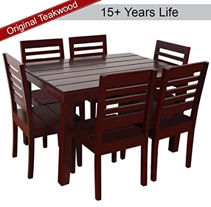 Furny Asian Solid Wood Teak Wood 6 Seater Dining Table Set Mohagany Polish Amazon In Electronics