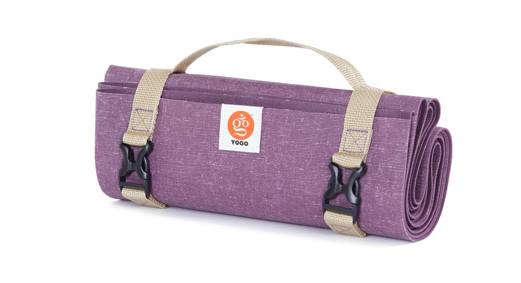YOGO Ultralight Travel Yoga Mat - with Attached Carrying Strap - Foldable Lightweight Thin Yoga Mat - Eco-Friendly Natural Tree Rubber with Extra Grip - Non Slip, Washable - Perfect for On The Go