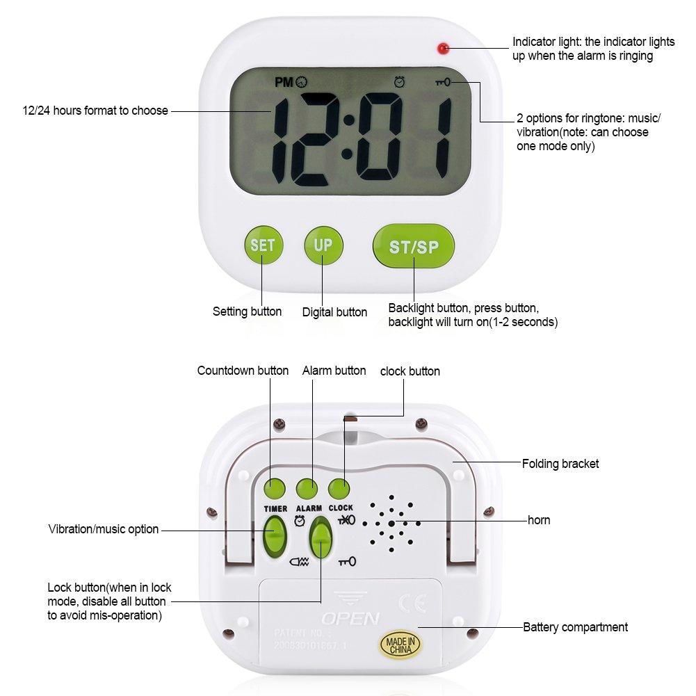 Despertador Digital LCD Reloj de vibración con pilas Reloj de temporizador portátil moderno con retroiluminación Se adapta a Office Dormitorio Dormitorio de ...