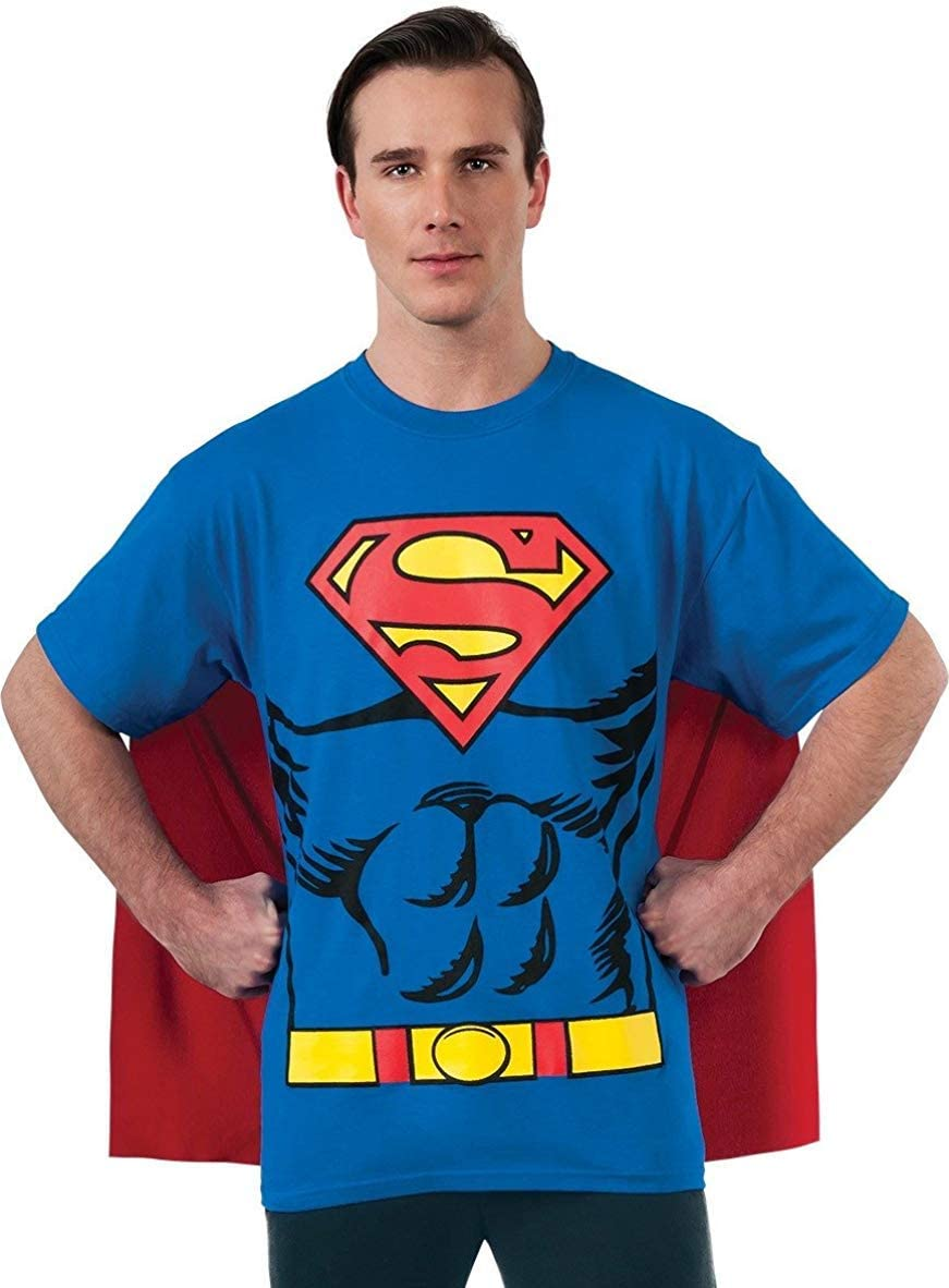 Rubies Costume Dc Comics Superman Costume T-Shirt with Cape X-Large Blue