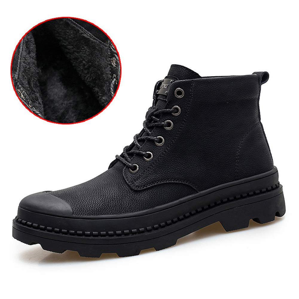 DZX Herren Stiefeletten Winter Schnee Warme Stiefel Rutschfeste Leder Martin Stiefel , Casual Winter Outdoor Schnee Stiefel,40