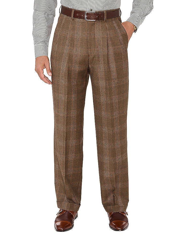 Paul Fredrick Men's Wool Plaid Pleated Suit Pants RFN320T000000