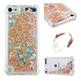 iPod Touch 6 Case,iPod Touch 5 Case,Ankoe Shockproof Clear Colorful Flowing Liquid Floating Luxury Bling Glitter Sparkle Flexible Protective Shell Bumper Case for iPod Touch 6/iPod Touch 5 (Gold)