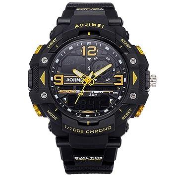 WULIFANG Los Hombres De Goma Militar Deportivo Reloj De Cuarzo Digital Electrónica Marca Dual Display Led Reloj Reloj Masculino Amarillo: Amazon.es: ...