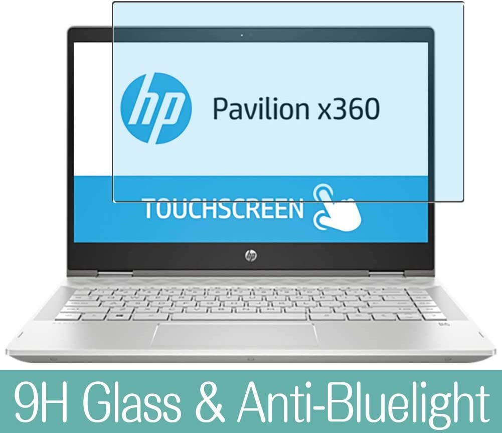 Synvy Anti Blue Light Tempered Glass Screen Protector Compatible with HP Pavilion x360 14-cd0700ng 14 inch Visible Area 9H Protective Screen Film Protectors (Not Full Coverage)