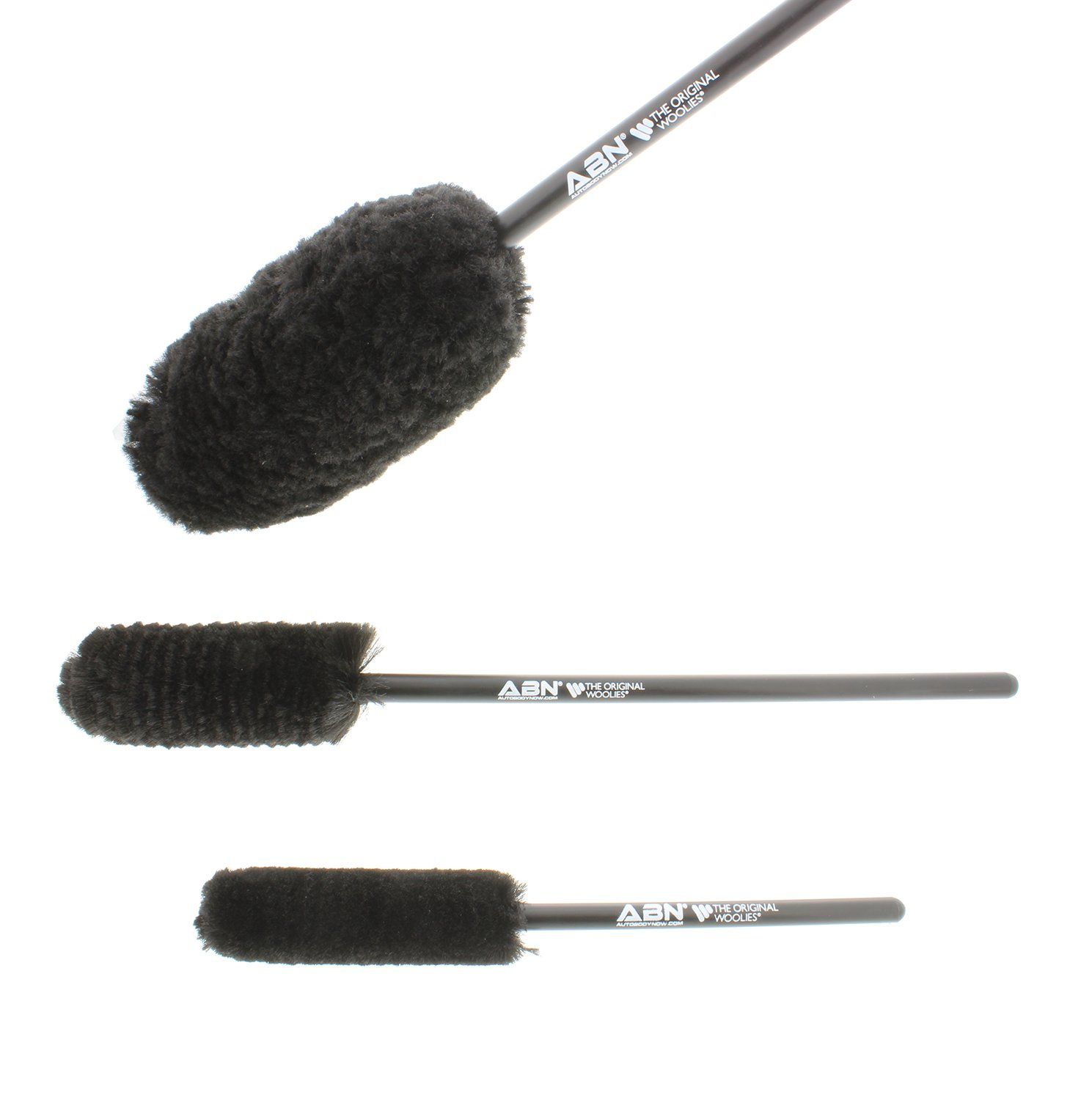 ABN Car Wheel Rim Cleaning 3-Piece Kit – Wheel Woolies Brush Stick Tool – Tire Woolie – Wooly Wand Set (3 Brushes) by ABN (Image #3)