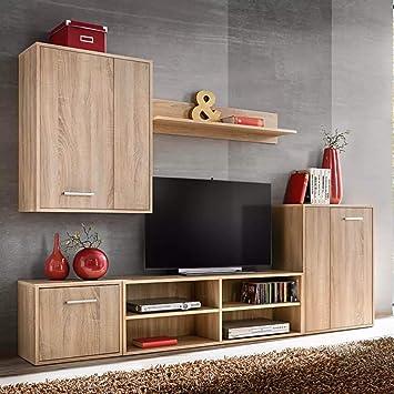 Xingshuoonline Meubles De Salon De Mur Pour Tv 5 Pieces Chene Sonoma Meuble Tv 1 X Meuble De Murale 60 X 30 X 80 Cm Largeur X Profondeur X Hauteur