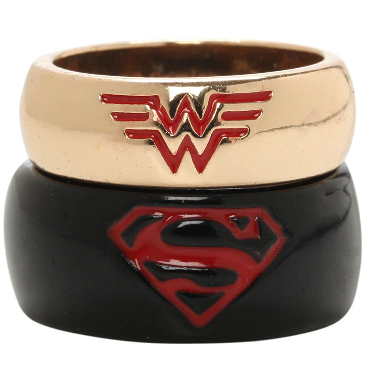 Amazoncom DC Comics Superman Wonder Woman His Hers Ring Set SIZE