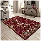 Superior Mayfair Collection Area Rug, 8mm Pile Height with Jute Backing, Vintage Distressed Medallion Pattern, Fashionable and Affordable Woven Rugs – 4′ x 6′ Rug, Red Review