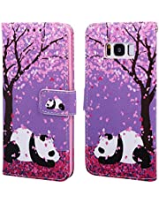 EnjoyCase Wallet Case for Galaxy S8 Plus,Colorful Cherry Flower Panda Pattern Pu Leather Bookstyle Card Slots Magnetic Flip Cover With Hand Strap for Samsung Galaxy S8 Plus