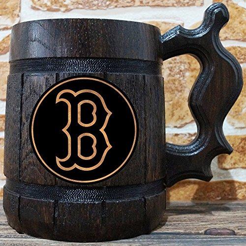 (Boston Red Sox Beer Mug, Baseball Wooden Beer Stein, Sport Gift, Personalized Beer Stein, Boston Red Sox Tankard, Custom Gift for Men, Gift for Him)