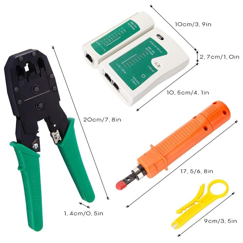 ANTAPRCIS 9 en 1 Comprobador de Cable de Red RJ45 Network Tool Kits Red Profesional Mantenimiento de la computadora LAN Cable Tester Herramientas de ...