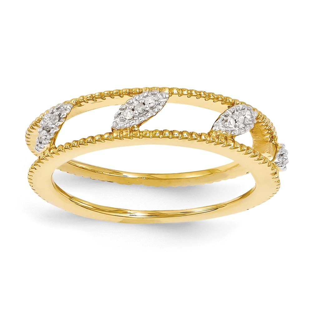 Sterling Silver Stackable Expressions Gold-Plated Diamond Jacket Ring Size 6
