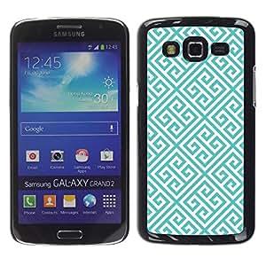FECELL CITY // Duro Aluminio Pegatina PC Caso decorativo Funda Carcasa de Protección para Samsung Galaxy Grand 2 SM-G7102 SM-G7105 // Blue White Wallpaper Shape
