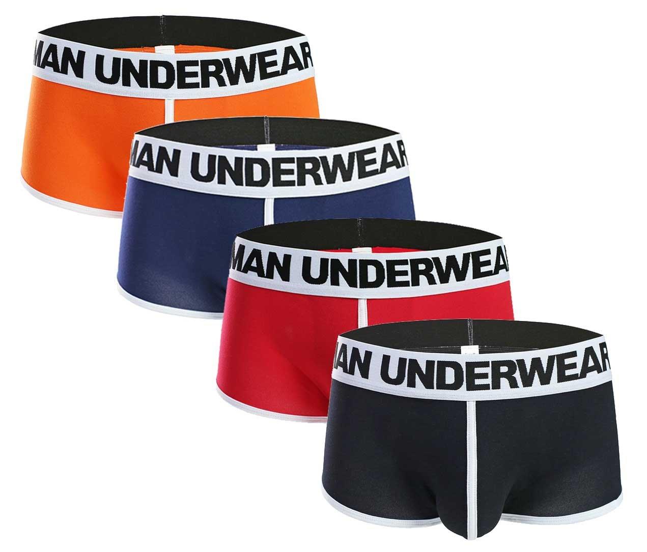 Seaoeey Men's 4 Pack Underwear Classic Fashion Underwear Red-Black-Sapphire-Orange Large