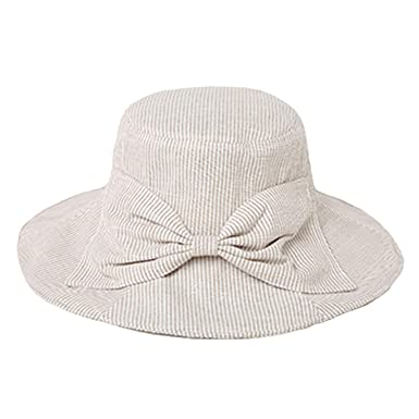 f91cce6c8f8 Image Unavailable. Image not available for. Color  Striped Bucket Hats Women  Cotton Vintage Wide Brim Linen Fishing Hats Ladies Bow Tie Spring Summer