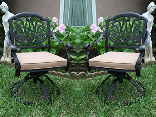 6 Cast Aluminum Swivel Rockers Arm Chair with Cushions GrandPatioFurniture