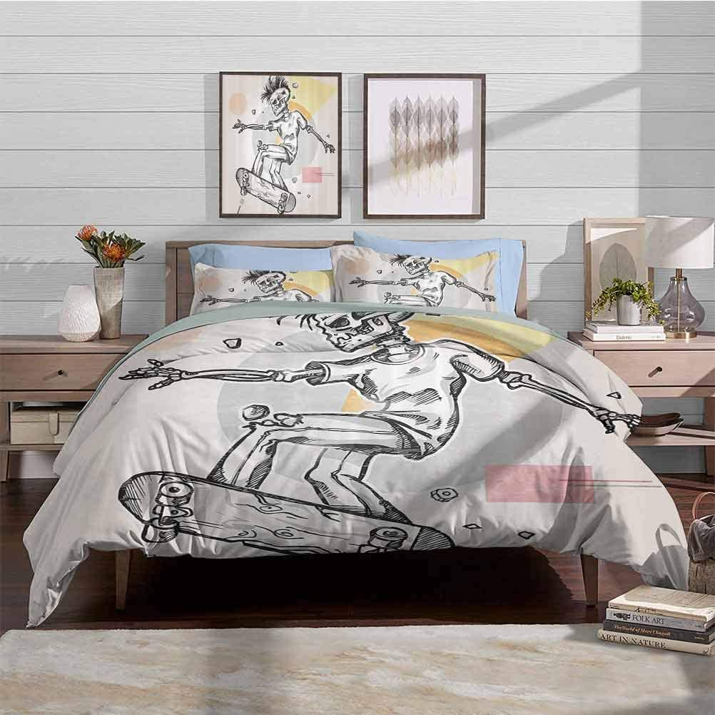Duvet Cover Set Quilt cover Soft Lightweight Microfiber Punk Rocker Skeleton Boy on a Skateboard Skiing with Abstract Background Decorative 3 Piece Bedding Set with 2 Pillow Shams, Full Size