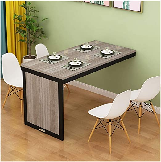 Huahua Wall Mounted Folding Drop Leaf Table Kitchen Dining Table Wall Mounted Folding Table Children S Computer Learning Wall Table Color Brown Black Frame Size 100x40x75cm Amazon Ca Home Kitchen