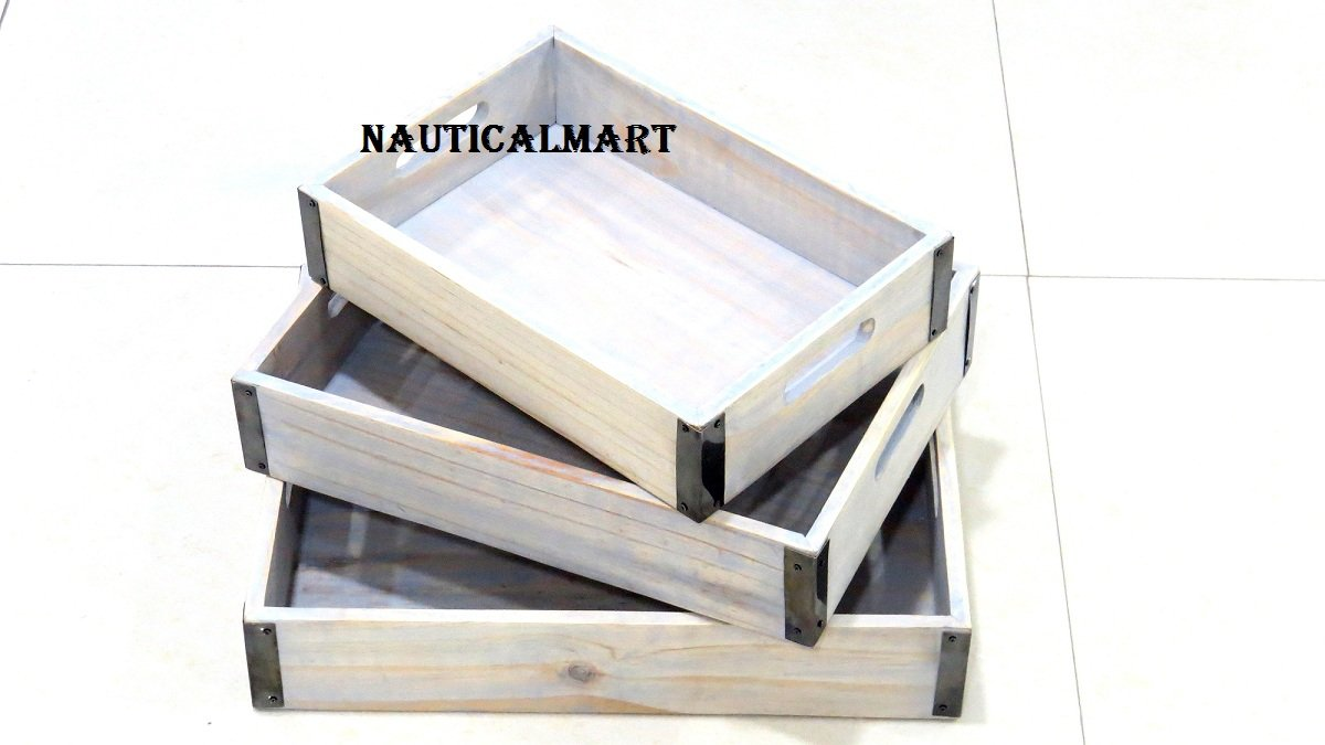 WOOD FOOD SERVING TRAYS, RECTANGLE WOOD WITH METAL CORNERS (SET OF 3) BY NAUTICALMART