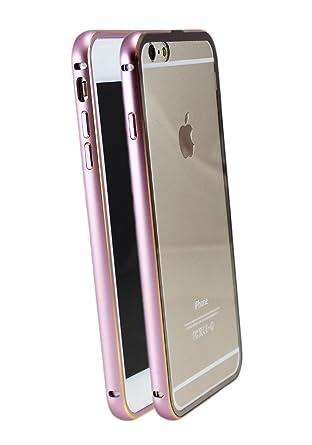 iPhone 6 6S 6 Plus + Slim Funda Carcasa Bumper Case de aluminio Metal con transparente Back Cover en Rosa Plata Turquesa Negro Gris Rosa