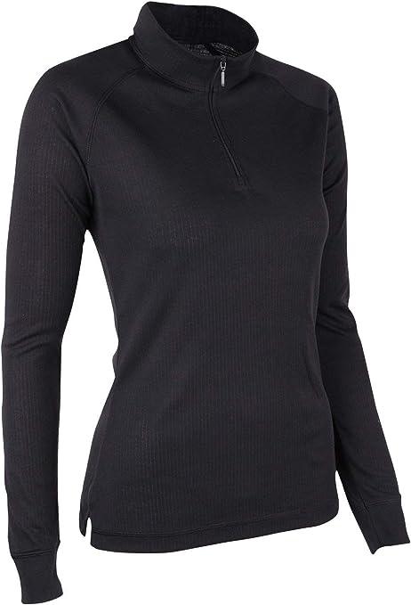 Mountain Warehouse Camiseta térmica con Cremallera de Cuello Mujeres Talus - Camiseta de Manga Larga Ligera, Transpirable, Secado rápido, Invierno Negro 40