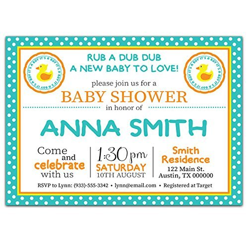 Rubber Ducky Boy Baby Shower Party Invitations ()