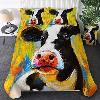 Amazon Com 4 Piece Bedding Set Twin Size Cute Cow Print