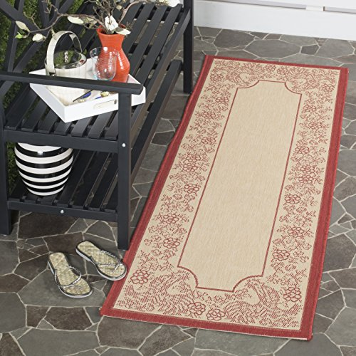 Safavieh Courtyard Collection CY3305-3701 Natural and Red Indoor/ Outdoor Runner (2'3