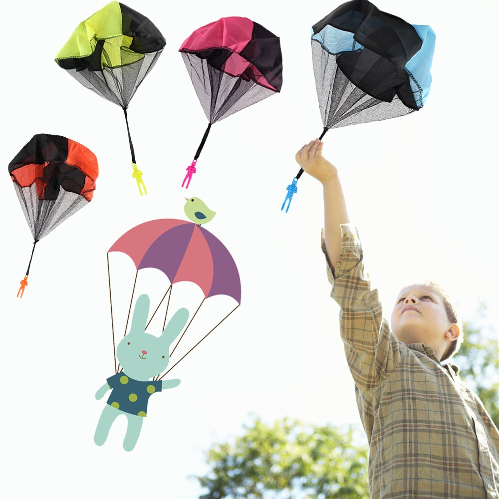 Qiwoo 5 Pack Flying Toy Parachute Balloon Helicopter Toys for Kids 4 Colors Mini No Tangle Throwing Flying Parachute Army Man Sports  Outdoor Play for Childrens Boys Girls Teens Party Favors by Qiwoo (Image #2)