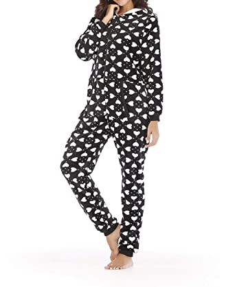 2a04d2a59 DJBM One Piece Pajamas Women's Fleece Hooded Pajama Jumpsuit Unisex Cosplay Onesies  Black-S