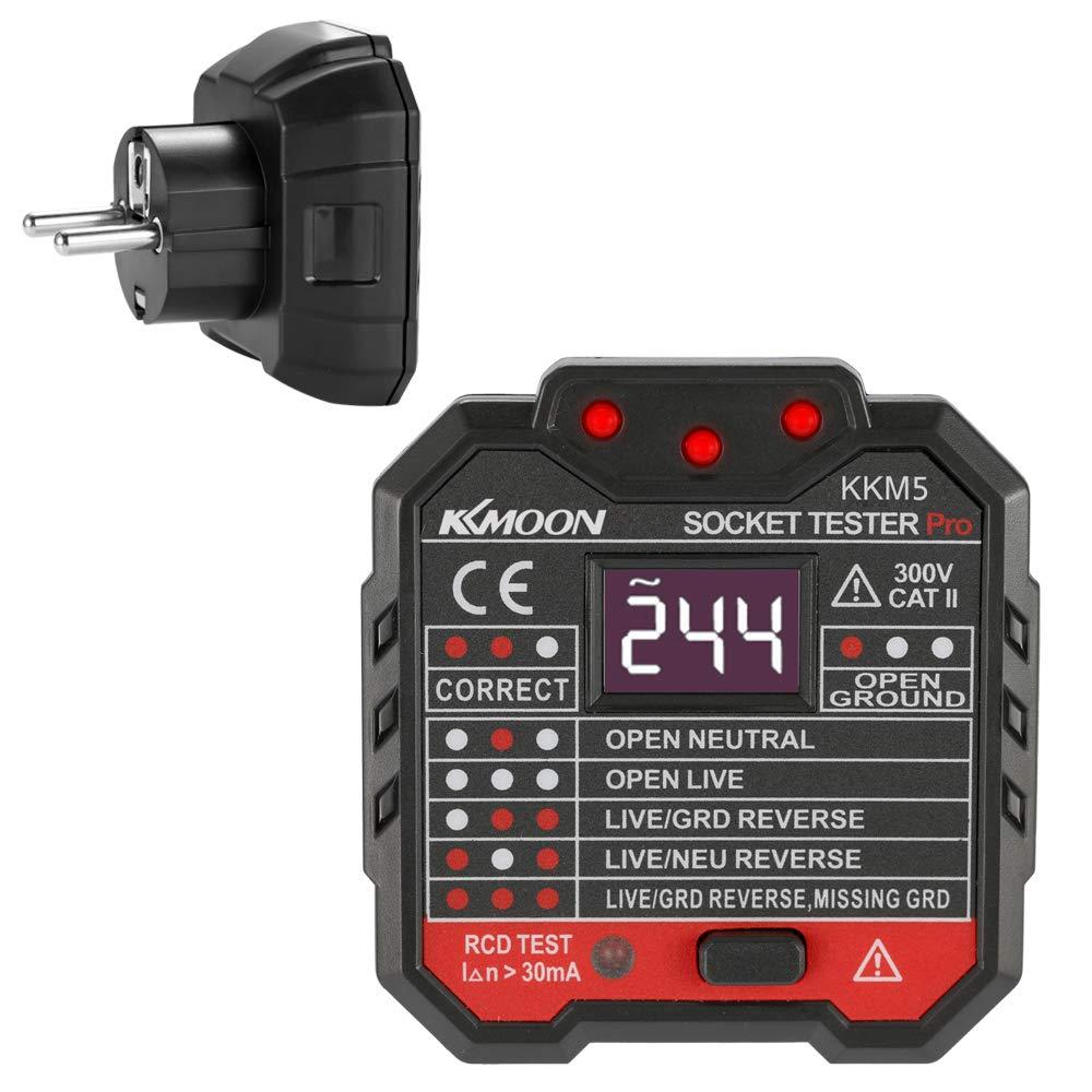 Automatischer Stromkreis-Detektor Polarit/ätspr/üfer Digitalanzeige-Sockel-Detektor Tragbare Schaltung Polarit/ät Spannungspr/üfer RCD-Test Wandstecker Breaker Finder Fesjoy Steckdosen Tester