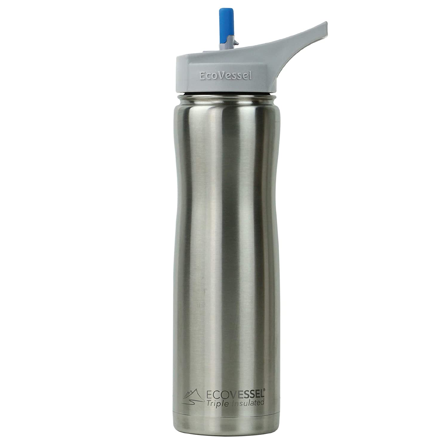 EcoVessel Summit TriMax Triple Insulated Stainless Steel Water Bottle with Flip Straw 24 Ounces