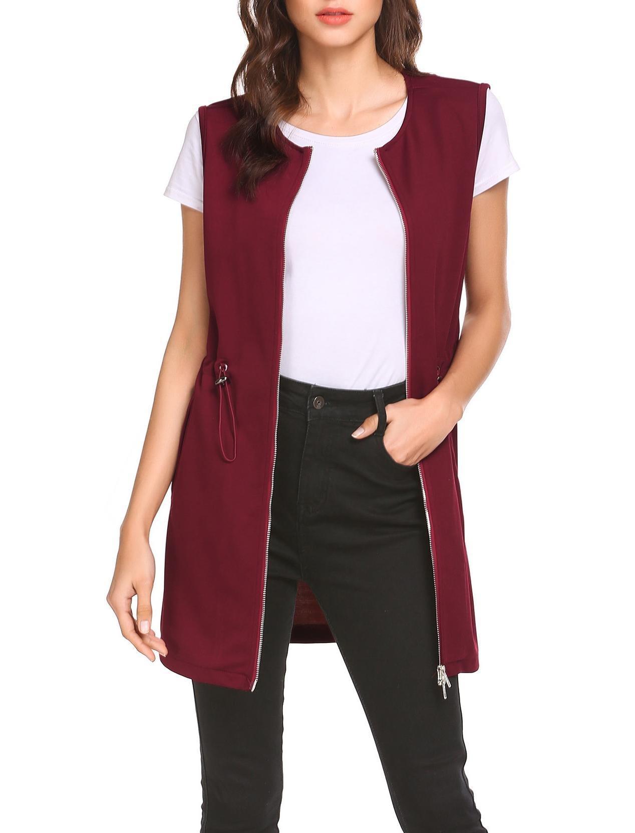 Pinspark Women's Long Sleeveless Zipper Vest Jacket Collarless Cardigan Blazer Burgundy by Pinspark