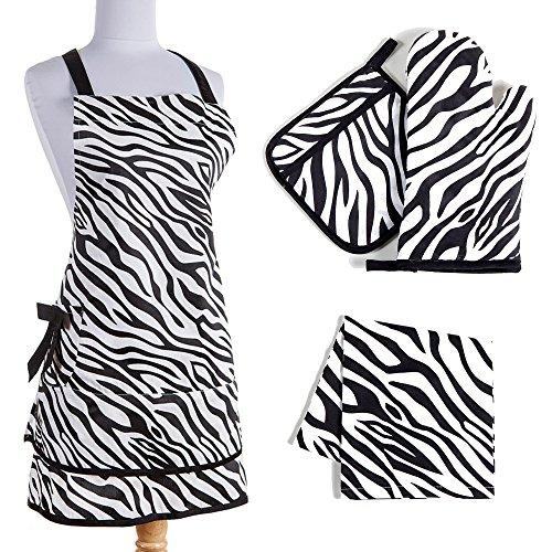 Zebra Print Kitchen Linen Set: Black and White Cotton Apron, Oven Mitt, Potholder, Dish Towel