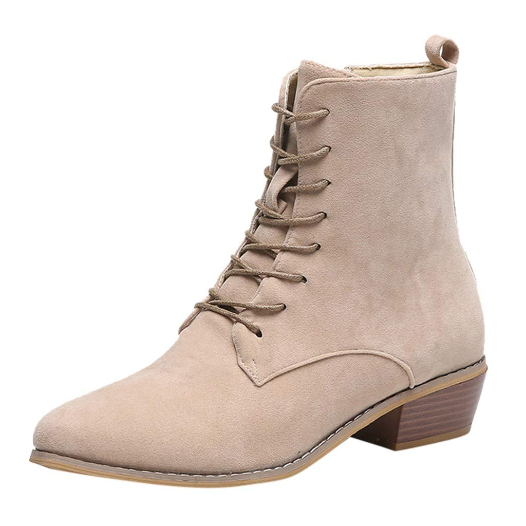 Womens Side Zipper Ankle Boots Western Lace-up Lepoard Short Boots Casual Scrub Mid-Heel Single Booties Plus Size (US:9, Beige) by Aritone - Women Shoes
