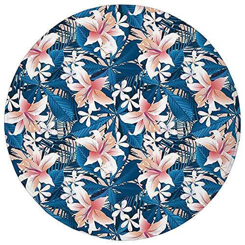 Round Rug Mat Carpet,Leaf,Singapore Plumeria and Tropical Hibiscus Hawaiian Flowers Grunge Design Decorative,Pink White and Dark Blue,Flannel Microfiber Non-slip Soft Absorbent,for Kitchen Floor Bathr (Best Car Wax Singapore)