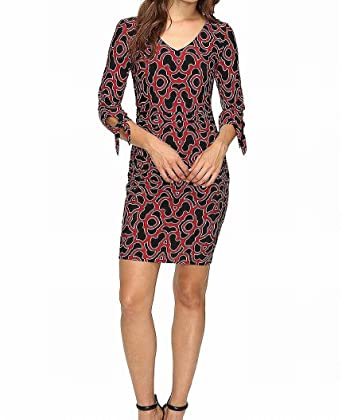 Laundry by Shelli Segal Women s Tie Sleeve Printed Matte Jersey Dress  Sultry Red Dress 36b34f3f07