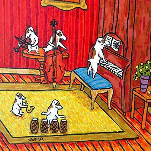Jack Russell Terrier JRT BAND music room decordog art tile coaster gift