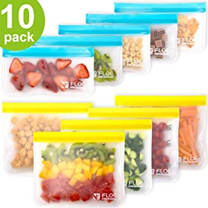 Reusable Storage Bags - 10 Pack Leakproof Freezer Bag (5 Reusable Sandwich Bags + 5 Reusable Snack Bags), Eco BPA-FREE Extra Thick Ziplock Lunch Bag for Food Storage & Home Organization Travel Makeup