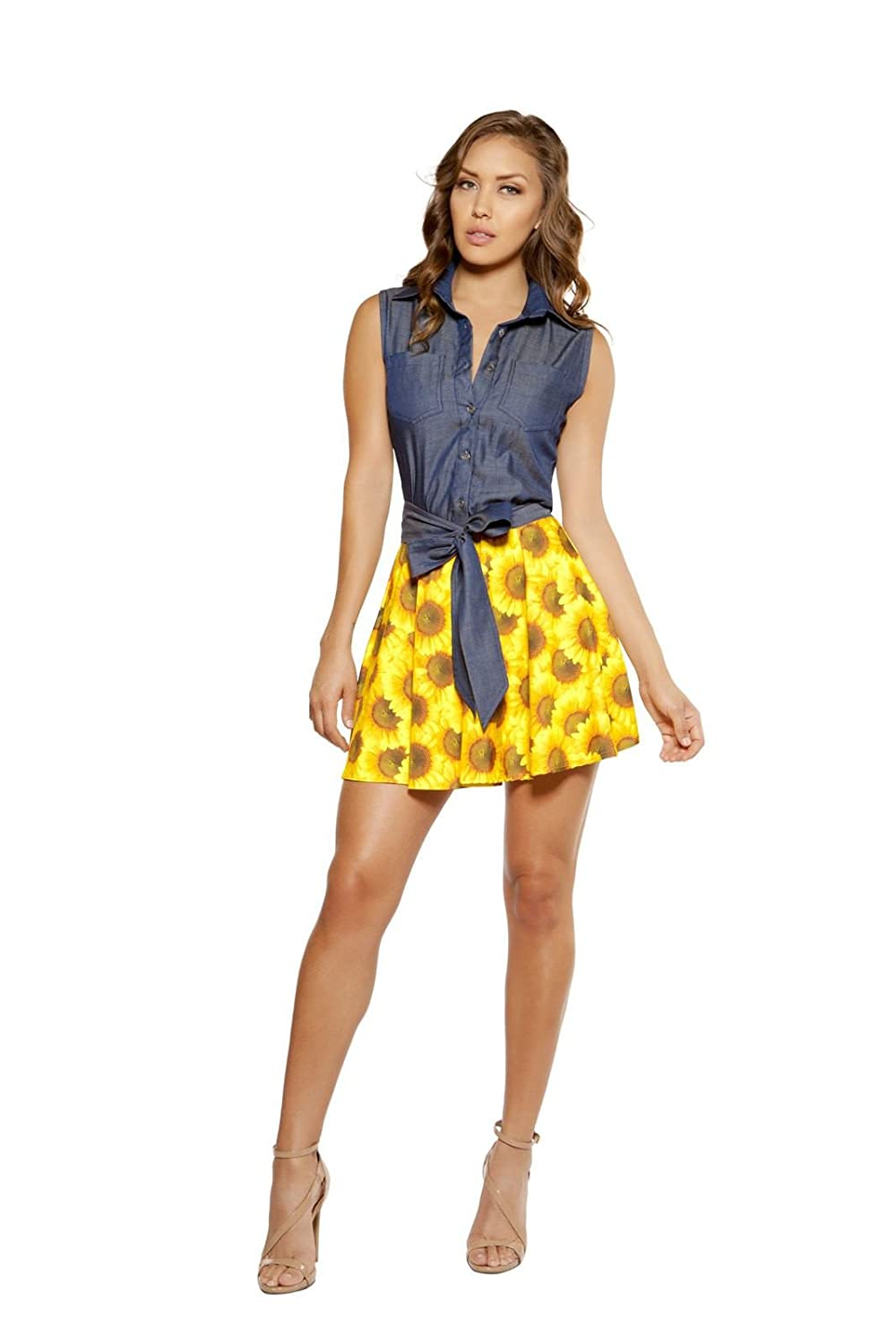 Flared Dress with Button Bundle with Rave Shorts