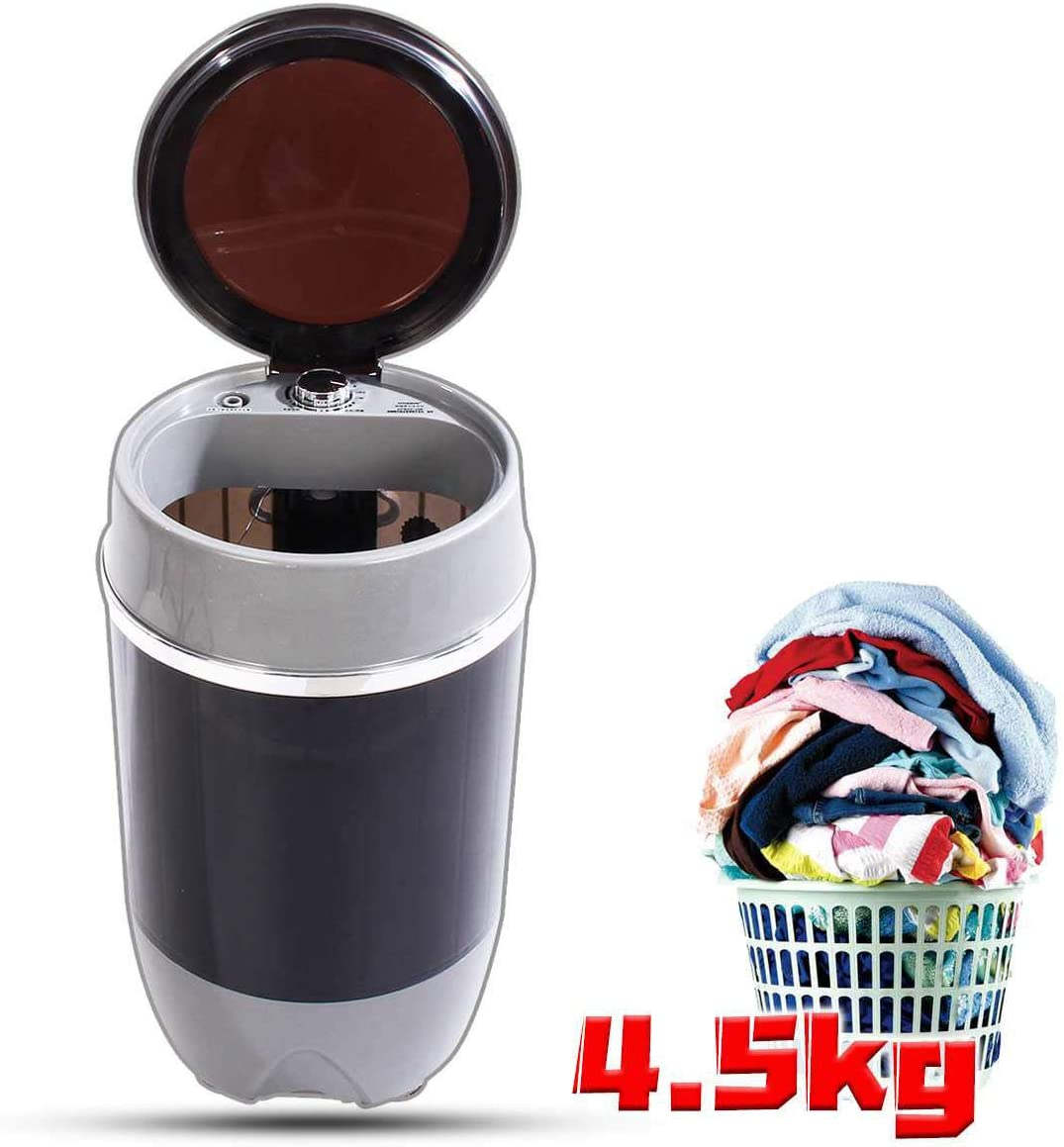 DAETNG Lavadora portátil, Mini Miniatura semiautomática, Capacidad de 4.5 kg, Carga Superior, Secadora giratoria y Bomba de Drenaje, Apartamentos, Casas rodantes y Espacios pequeños
