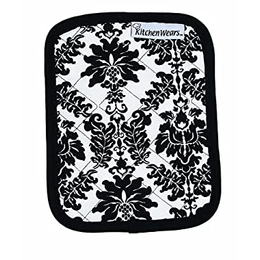 Ritz Kitchen Wears Print Cotton Pot Holder, Vintage Damask Black