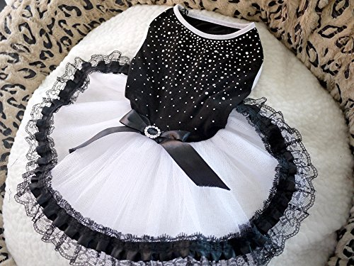 Dogloveit Cotton Flash Diamond Tutu Dress With Lace Dog Clothes For Puppy Cat,Black,X-Small