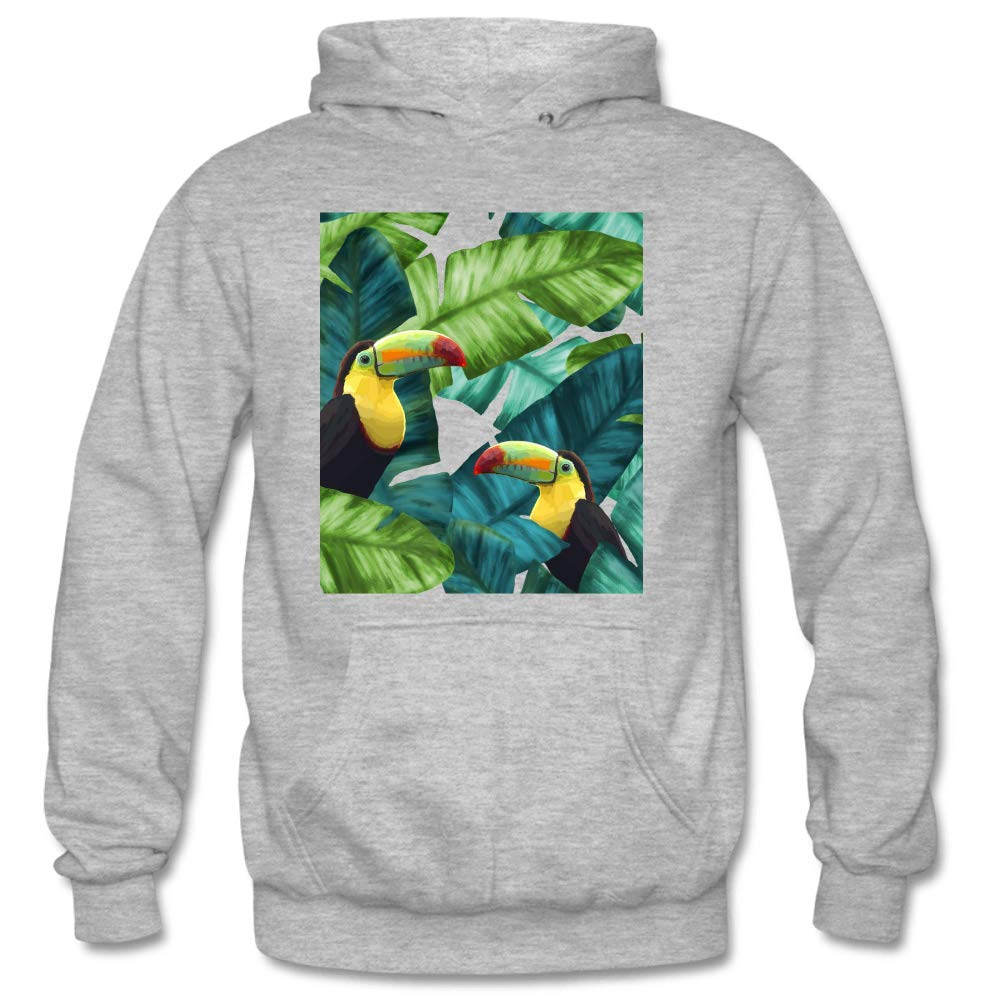 Mens Toucans Tropical Palm Leaves Long Sleeve Leisure Hooded Sweatshirt Cartoon