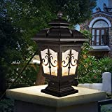 Modeen Continental Victoria Outdoor Glass Table Lamp Creative Modern Industry E27 Decoration Column Lamp Post Light Street Light Aluminum Patio Garden Villa Door Pillar Table Light