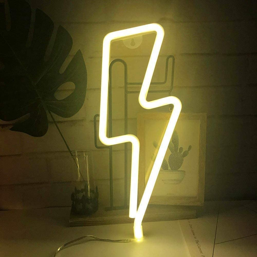 Luz de letrero de neón con forma de rayo LED, luces decorativas artísticas, decoración de pared para habitación de bebé, suministros para fiestas de bodas y Navidad-YELLOW Lightning
