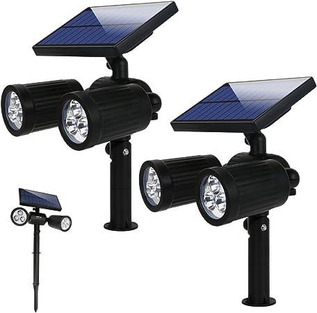 Lámparas Solares Luz de Jardín Focos Led Exterior con 350 Lúmenes, 2 Modos y Impermeable IP65, Apliques de pared Solar Ajustable con Funciona de 8 Horas para Jardín Patio Terraza Calzada: Amazon.es: Iluminación